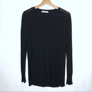 Zara Knit Black Side Slit Jumper Sweater M 0348